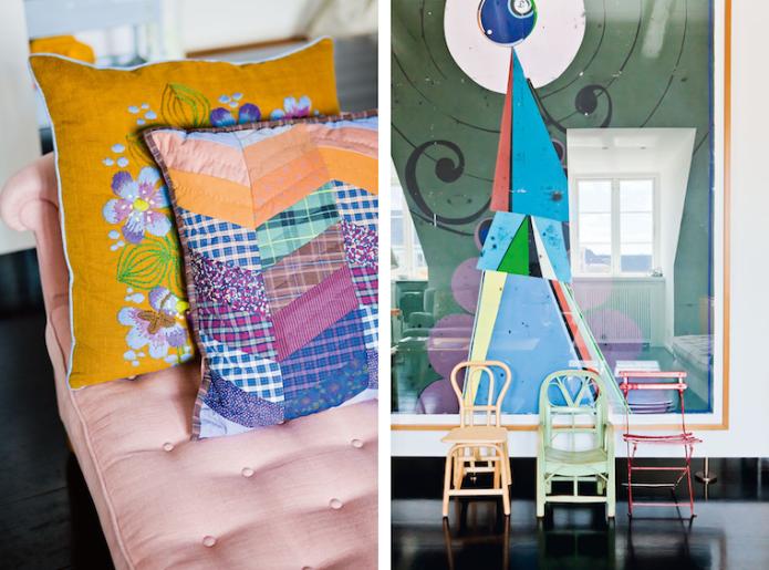 Detalles vivienda Copenhague, sofá tapizado en rosa 1